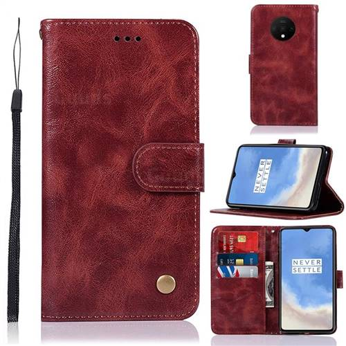 Luxury Retro Leather Wallet Case for OnePlus 7T - Wine Red