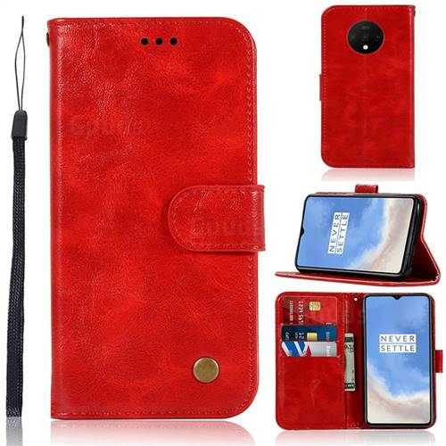 Luxury Retro Leather Wallet Case for OnePlus 7T - Red