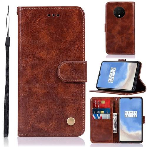 Luxury Retro Leather Wallet Case for OnePlus 7T - Brown