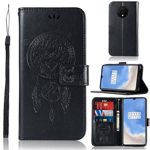 Intricate Embossing Owl Campanula Leather Wallet Case for OnePlus 7T - Black