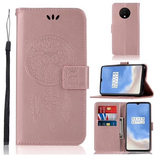Intricate Embossing Owl Campanula Leather Wallet Case for OnePlus 7T - Rose Gold
