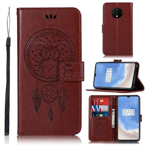 Intricate Embossing Owl Campanula Leather Wallet Case for OnePlus 7T - Brown