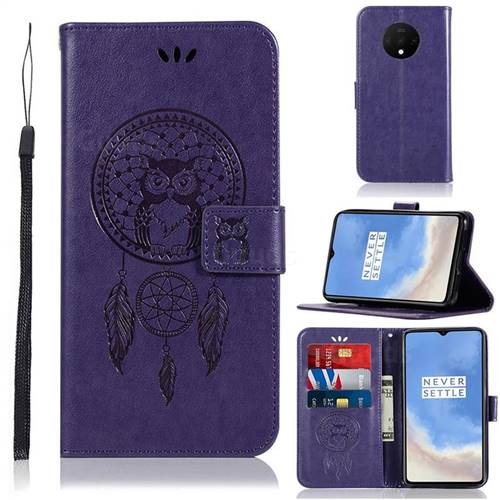 Intricate Embossing Owl Campanula Leather Wallet Case for OnePlus 7T - Purple