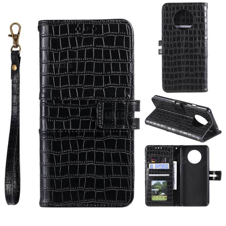 Luxury Crocodile Magnetic Leather Wallet Phone Case for OnePlus 7T - Black
