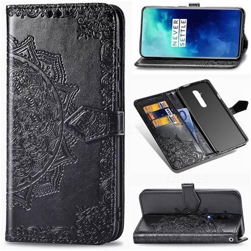 Embossing Imprint Mandala Flower Leather Wallet Case for OnePlus 7T Pro - Black