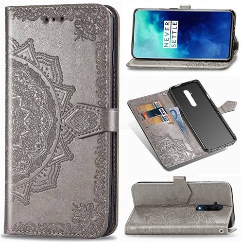 Embossing Imprint Mandala Flower Leather Wallet Case for OnePlus 7T Pro - Gray