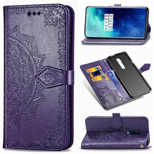 Embossing Imprint Mandala Flower Leather Wallet Case for OnePlus 7T Pro - Purple