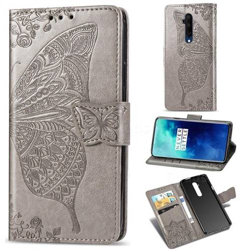 Embossing Mandala Flower Butterfly Leather Wallet Case for OnePlus 7T Pro - Gray