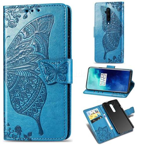 Embossing Mandala Flower Butterfly Leather Wallet Case for OnePlus 7T Pro - Blue