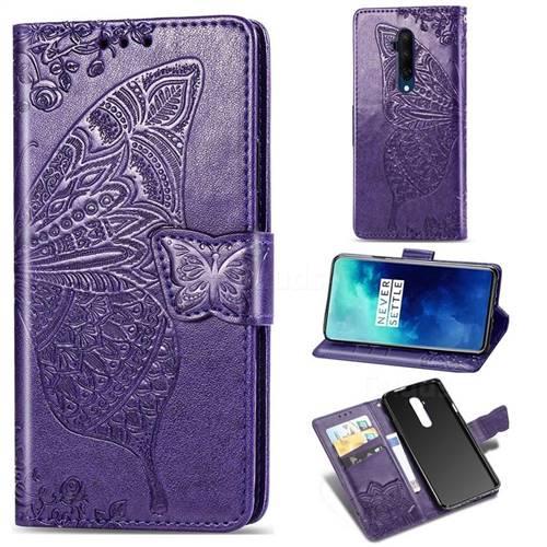 Embossing Mandala Flower Butterfly Leather Wallet Case for OnePlus 7T Pro - Dark Purple