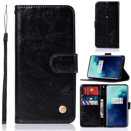 Luxury Retro Leather Wallet Case for OnePlus 7T Pro - Black