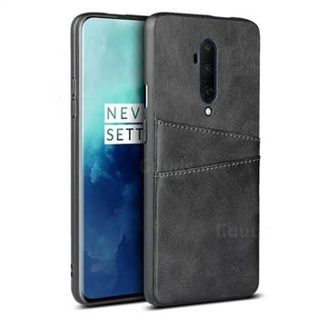Simple Calf Card Slots Mobile Phone Back Cover for OnePlus 7T Pro - Black