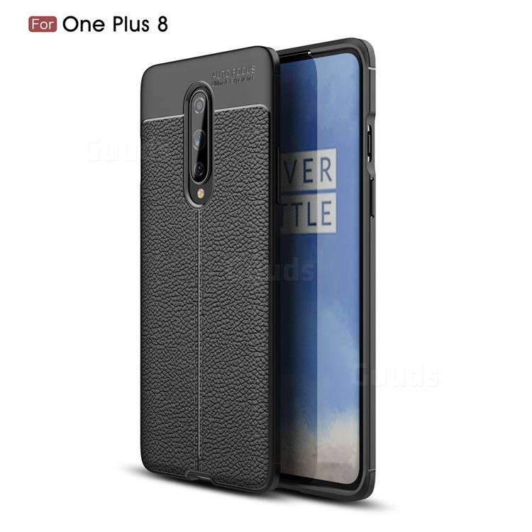 Luxury Auto Focus Litchi Texture Silicone TPU Back Cover for OnePlus 8 - Black