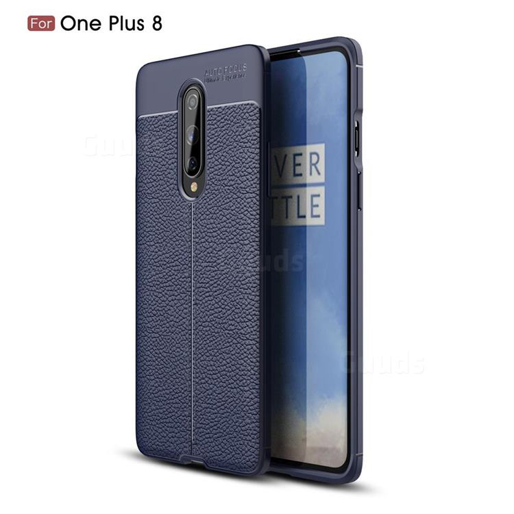 Luxury Auto Focus Litchi Texture Silicone TPU Back Cover for OnePlus 8 - Dark Blue