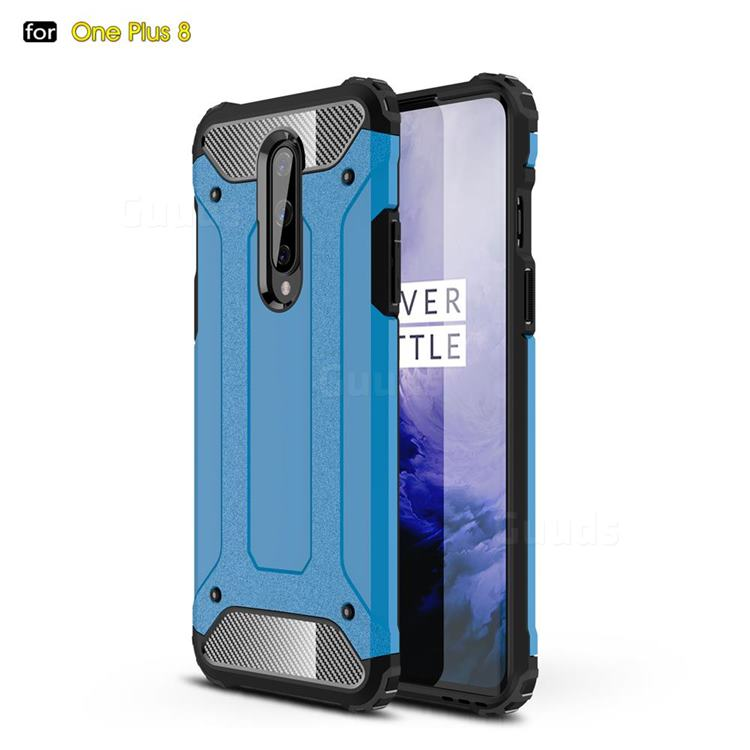King Kong Armor Premium Shockproof Dual Layer Rugged Hard Cover for OnePlus 8 - Sky Blue