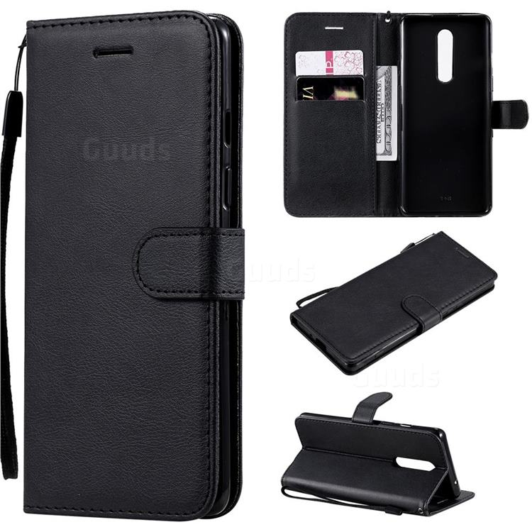 Retro Greek Classic Smooth PU Leather Wallet Phone Case for OnePlus 8 - Black