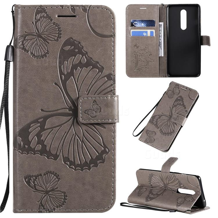 Embossing 3D Butterfly Leather Wallet Case for OnePlus 8 - Gray