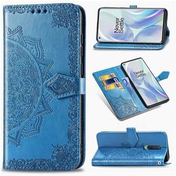 Embossing Imprint Mandala Flower Leather Wallet Case for OnePlus 8 - Blue