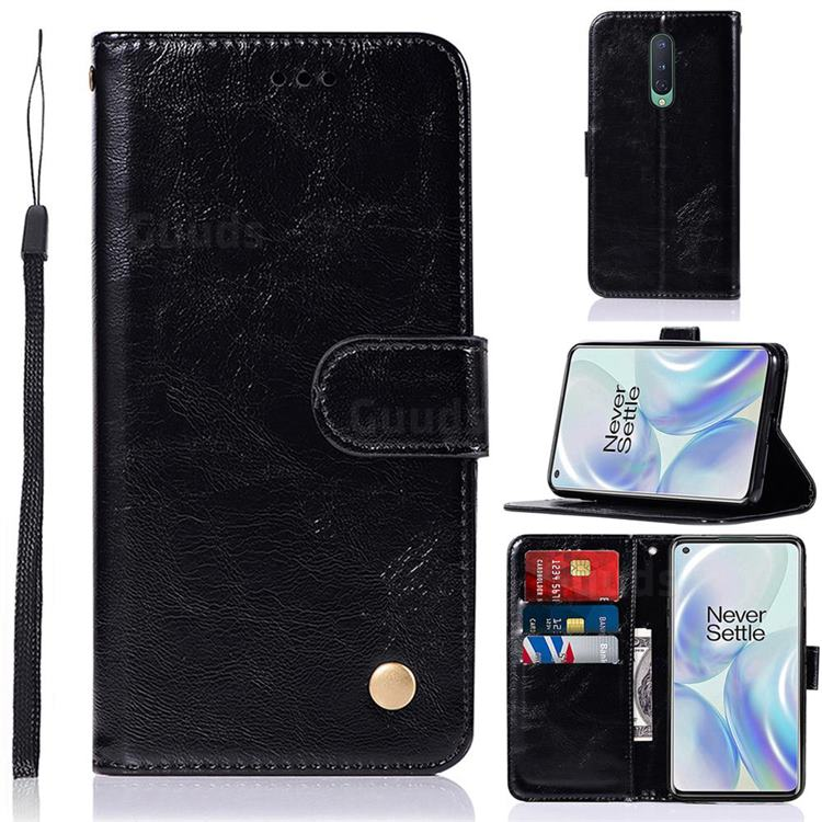 Luxury Retro Leather Wallet Case for OnePlus 8 - Black