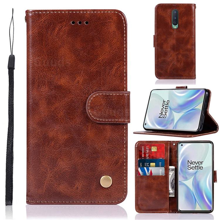 Luxury Retro Leather Wallet Case for OnePlus 8 - Brown