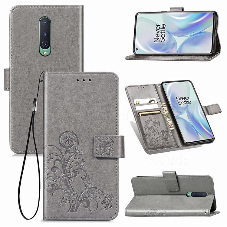 Embossing Imprint Four-Leaf Clover Leather Wallet Case for OnePlus 8 - Grey