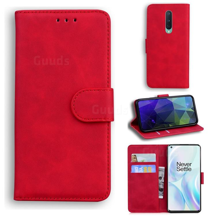 Retro Classic Skin Feel Leather Wallet Phone Case for OnePlus 8 - Red