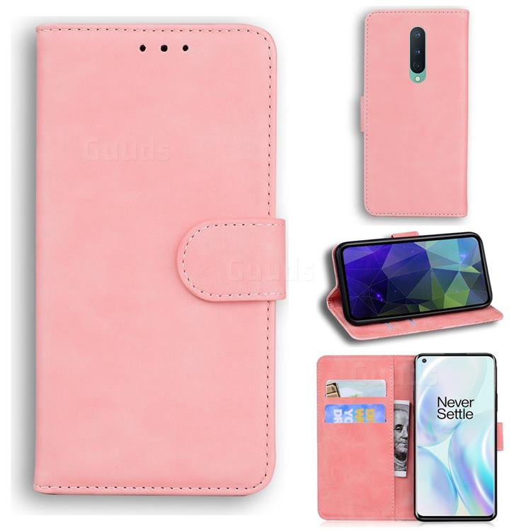 Retro Classic Skin Feel Leather Wallet Phone Case for OnePlus 8 - Pink