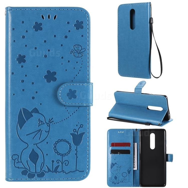 Embossing Bee and Cat Leather Wallet Case for OnePlus 8 - Blue