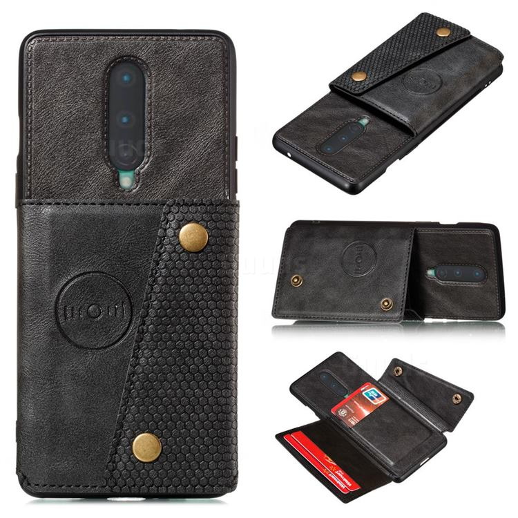 Retro Multifunction Card Slots Stand Leather Coated Phone Back Cover for OnePlus 8 - Black