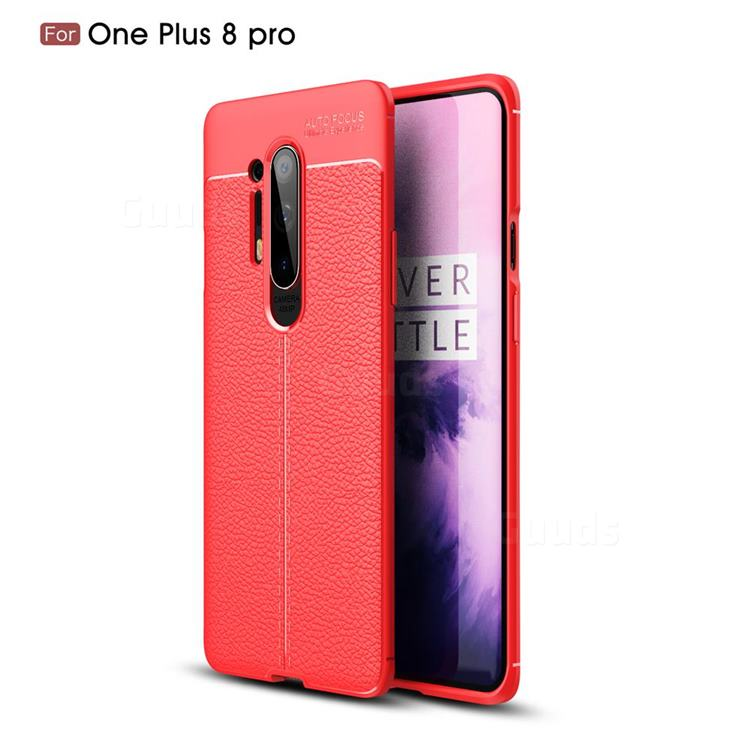 Luxury Auto Focus Litchi Texture Silicone TPU Back Cover for OnePlus 8 Pro - Red