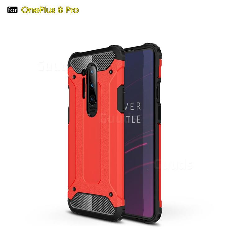King Kong Armor Premium Shockproof Dual Layer Rugged Hard Cover for OnePlus 8 Pro - Big Red