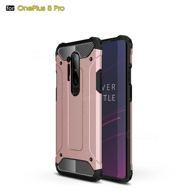 King Kong Armor Premium Shockproof Dual Layer Rugged Hard Cover for OnePlus 8 Pro - Rose Gold