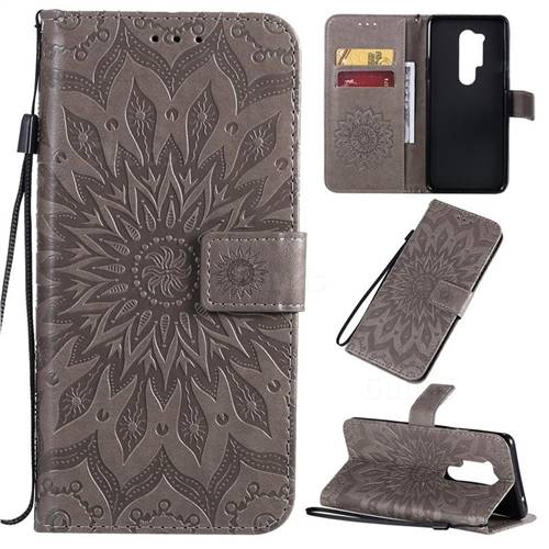Embossing Sunflower Leather Wallet Case for OnePlus 8 Pro - Gray