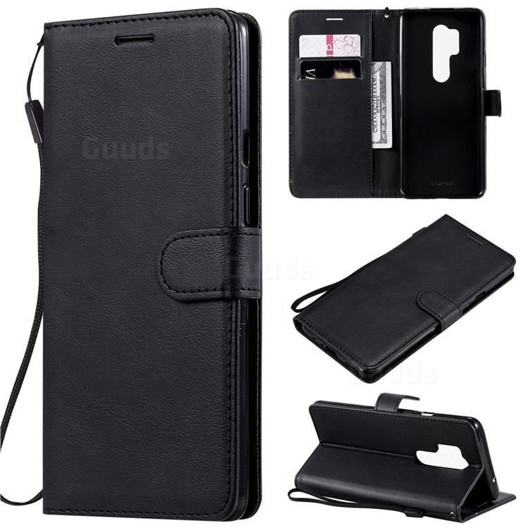 Retro Greek Classic Smooth PU Leather Wallet Phone Case for OnePlus 8 Pro - Black