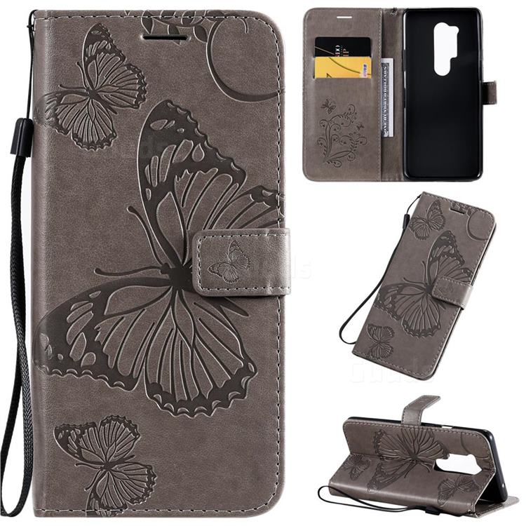 Embossing 3D Butterfly Leather Wallet Case for OnePlus 8 Pro - Gray