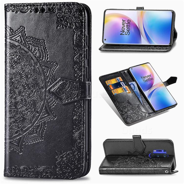 Embossing Imprint Mandala Flower Leather Wallet Case for OnePlus 8 Pro - Black