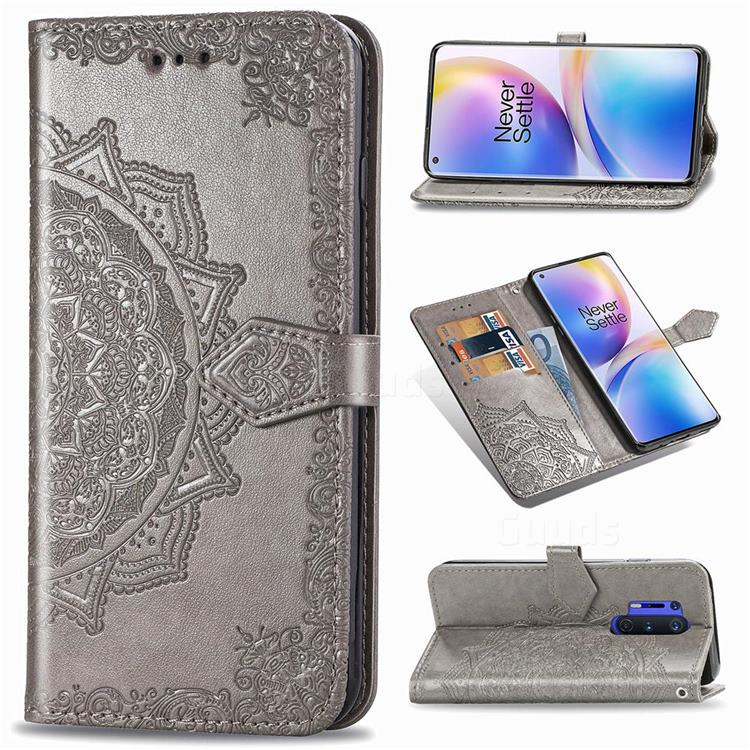 Embossing Imprint Mandala Flower Leather Wallet Case for OnePlus 8 Pro - Gray