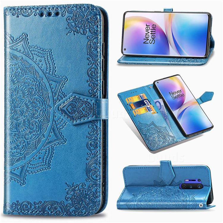 Embossing Imprint Mandala Flower Leather Wallet Case for OnePlus 8 Pro - Blue