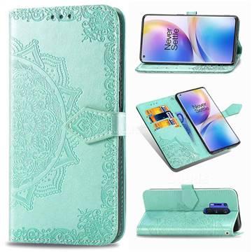 Embossing Imprint Mandala Flower Leather Wallet Case for OnePlus 8 Pro - Green