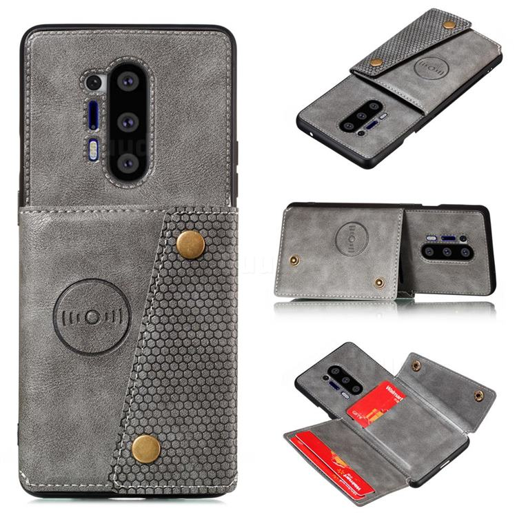 Retro Multifunction Card Slots Stand Leather Coated Phone Back Cover for OnePlus 8 Pro - Gray