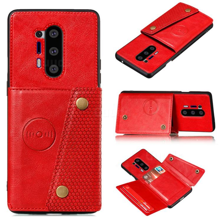 Retro Multifunction Card Slots Stand Leather Coated Phone Back Cover for OnePlus 8 Pro - Red