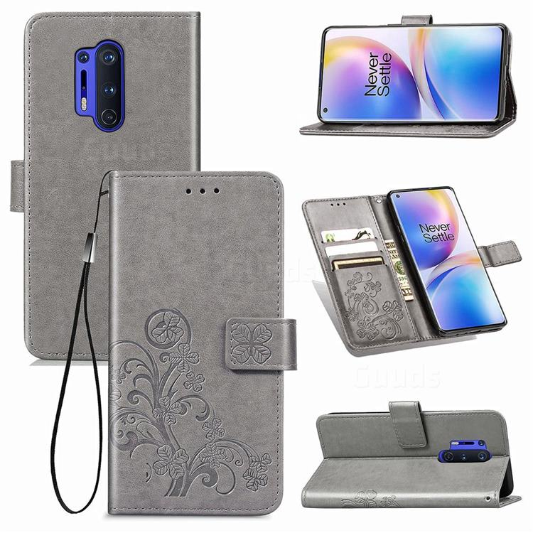Embossing Imprint Four-Leaf Clover Leather Wallet Case for OnePlus 8 Pro - Grey