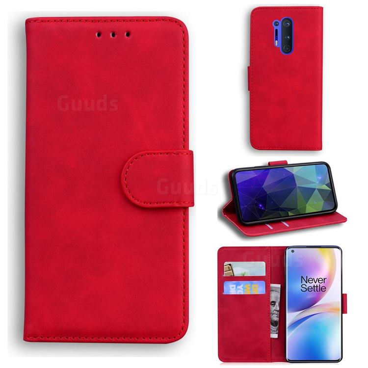 Retro Classic Skin Feel Leather Wallet Phone Case for OnePlus 8 Pro - Red