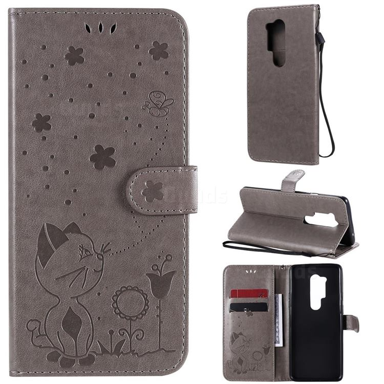 Embossing Bee and Cat Leather Wallet Case for OnePlus 8 Pro - Gray
