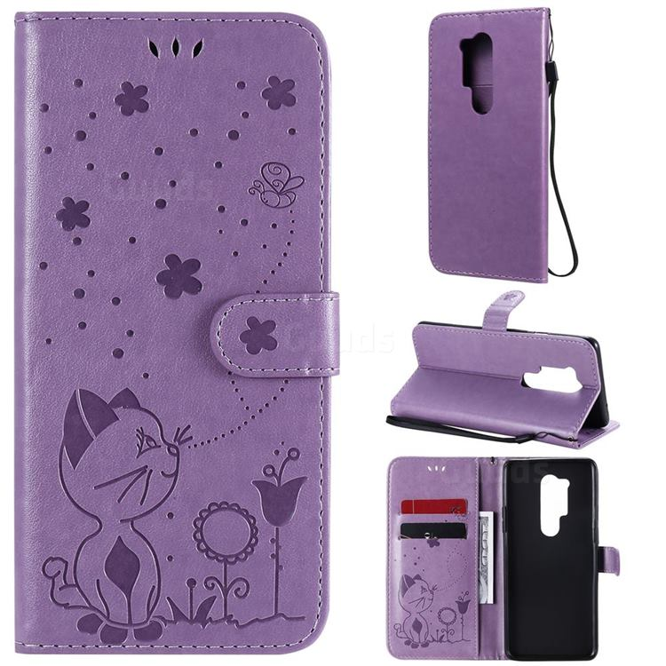 Embossing Bee and Cat Leather Wallet Case for OnePlus 8 Pro - Purple