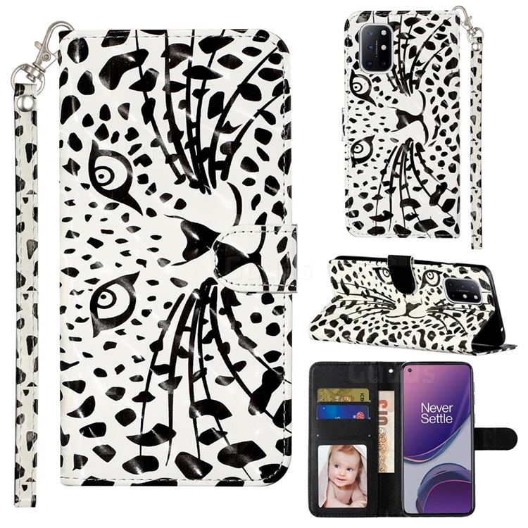 Leopard Panther 3D Leather Phone Holster Wallet Case for OnePlus 8T