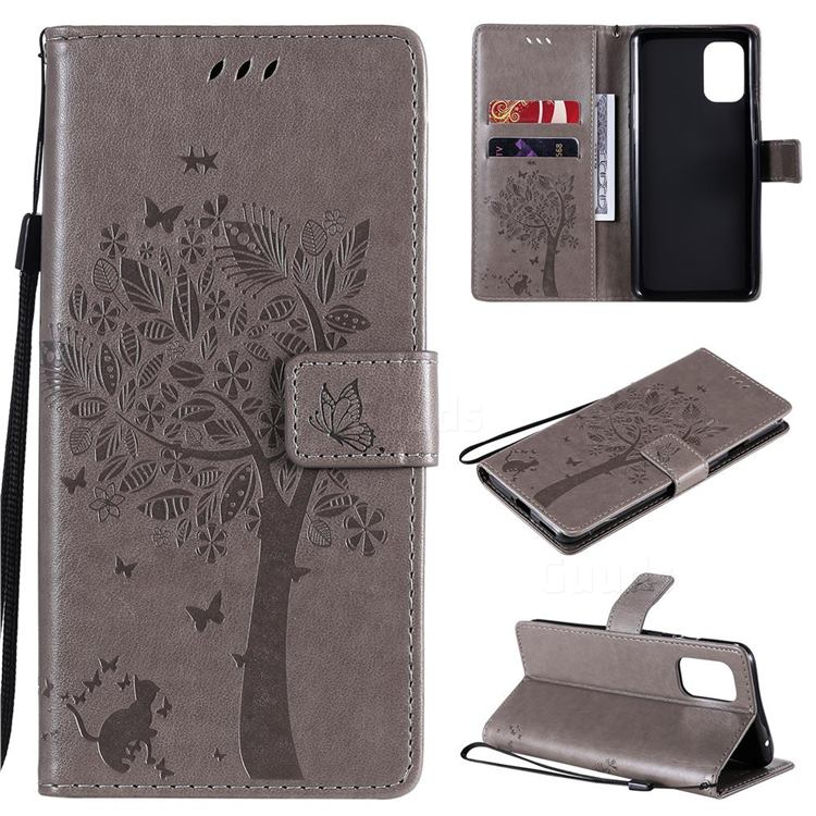 Embossing Butterfly Tree Leather Wallet Case for OnePlus 8T - Grey