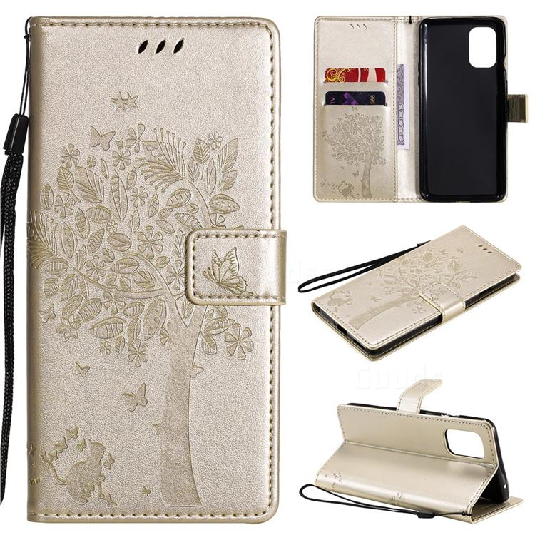 Embossing Butterfly Tree Leather Wallet Case for OnePlus 8T - Champagne