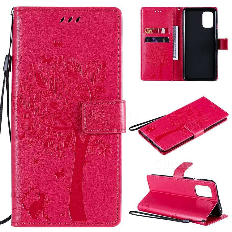 Embossing Butterfly Tree Leather Wallet Case for OnePlus 8T - Rose