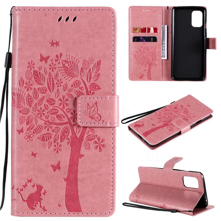 Embossing Butterfly Tree Leather Wallet Case for OnePlus 8T - Pink